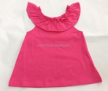 factory OEM hot pink little baby shirt girl ruffle shirt baby plain summer t shirt