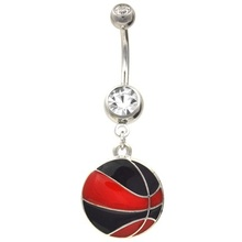 Black And Red Basketball Dangle Belly Ring
