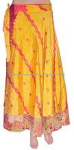 alta moda seda sari faldas envolver