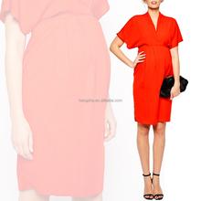 moda lavoro premaman rosso scollo a v abiti formali per le donne incinte hsd1270