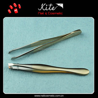 Custom Stainless Steel Slant Tip Girls Makeup Eyebrow Tweezers/Eyebrow Shaping Tool