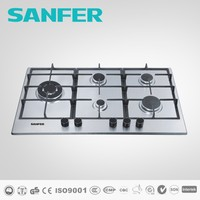5 burners stainless steel built-in type gas hob with front control and triple ring burner put on left