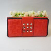 2015 fancy design wallets woven pu ladies purses folded purses