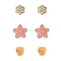 Fashionable Styles Multi Type Flowers Shape Stud Earrings Sets for Women