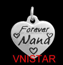 """Vnistar hot high quality stainless steel heart """"forever NaNa"""" charms for bracelet and necklace jewelry stock supplier"""