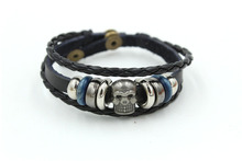 SP Handmade leather bracelets black leather wristbands leather wristbands for men or women