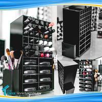 Hot New Product!! 360 Degree 72 Slots Cosmetic Nail Polish Retail Display Rotating Acrylic Custom Lipstick Stands Shelf Supplier
