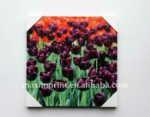 32X32 Inch Purple Tulip Flowers Printed Outdoor Canvas Wall Art with wood frame
