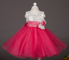 Retail 2015 new flowers girls dress Sequins children princess dress kids wedding dress beautiful girls party dress L8087