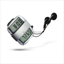 Multi-functional Pedometer Electric gift wholsales pedometer fm radio mp3 activity monitor walking pedo with headphones