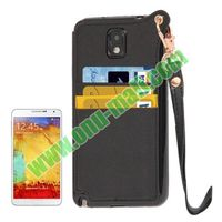 Cross Texture Leather + TPU case for samsung galaxy note 3 iii n9000 n9005 with Card Slots & Lanyard