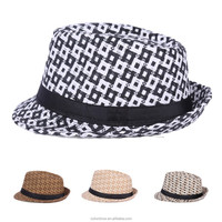 Promotion straw hat fedora and Panama woven paper straw hats