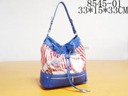 High Quality Casual Design Women Drawstring Color-Block PU Bucket Bag Tote Bag