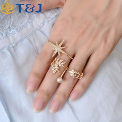 >>>New fashion Accessories Jewelry Full Rhinestone Pearl Star Double Finger Ring Set For Women Girl Nice Gift/