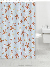 Fancy Starfish Printed Polyester Shower Curtain For Children