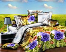 colorful flower 3d printed king size flat bed sheet branded bedding set