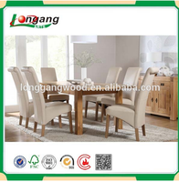 White lacquer solid wooden dining table and chair