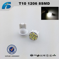 Car LED Colorful T10 1206 8SMD W5W Xenon LED Interior light License Plate Parking Stop The Width Light 8 Colors