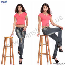 Garment factory in China Guangzhou Women's long jean pants with holes