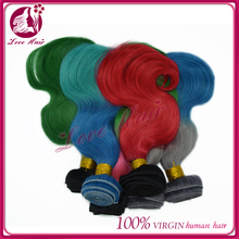 stock!!no tangle no shed brazilian human hair weave alibaba china ombre color body wave two tone red/gray/blue/pink hair