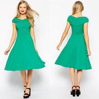 Juhai 3504 crinkle chiffon green and black maxi prom dress 2015