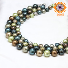 2016 new design fashion mix-color round shell pearl beaded necklace with magnetic clasp