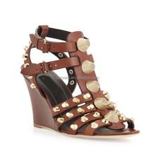 alte alla caviglia sandali gladiatore tacco scarpe coperte marrone oro tempestato sandali alla caviglia cunei