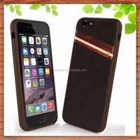 alibaba China supplier PU leather snap-on cell phone case for iphone 6 plus with rose wood+maple wood at middle of the case