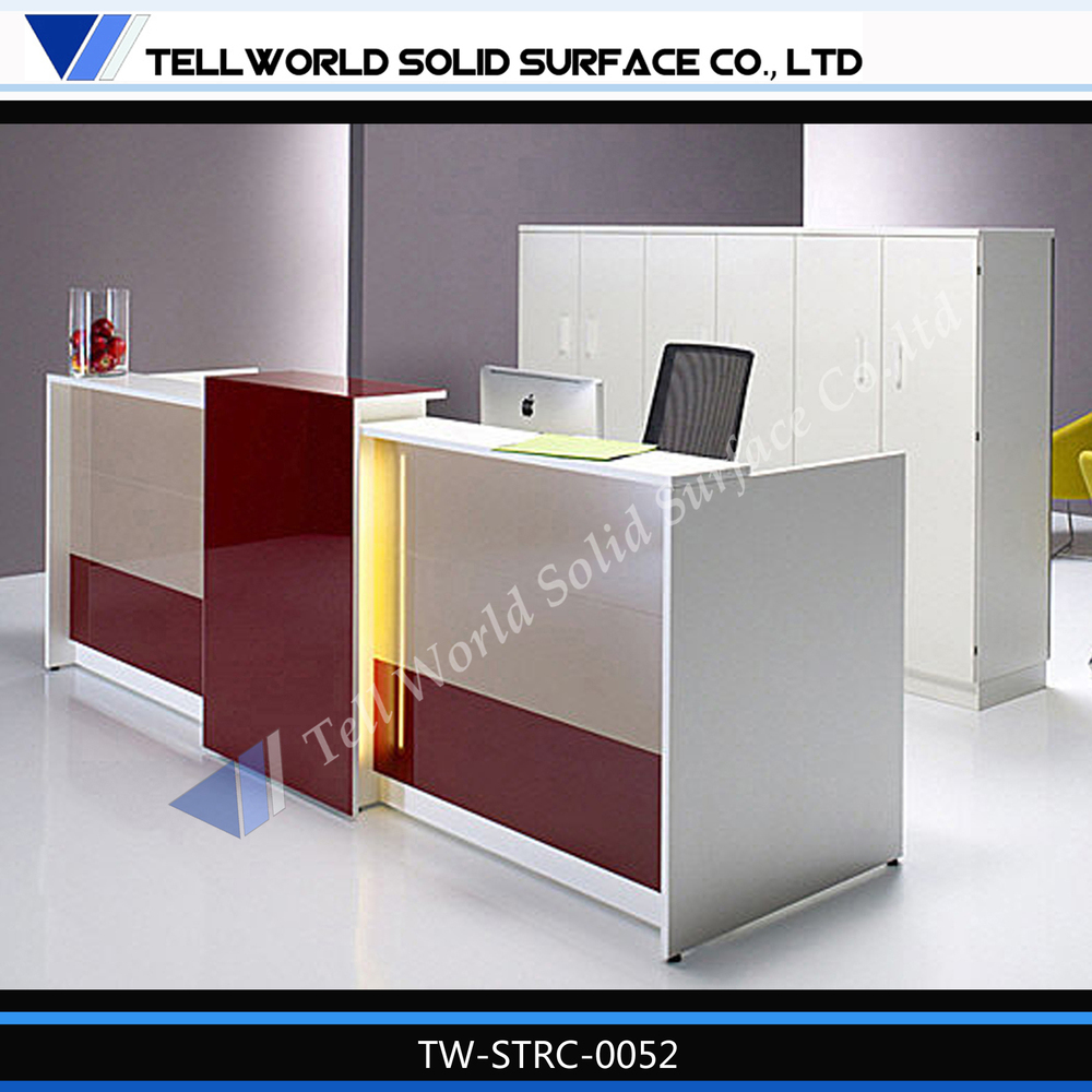 Tell World Office Furniture Leading Producer Acrylic Solid Surface Modern Front Desk Counter