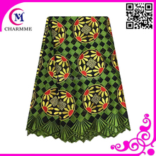 African wedding lace 100% cotton army green mix yellow color swiss lace fabric for big wedding
