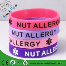 High quality silicone allergy bracelet,custom made medical rubber wristbands