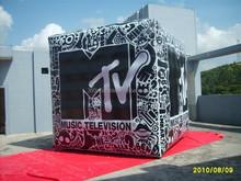 Custom full printing 4mH inflatable PVC cube balloon for advertising