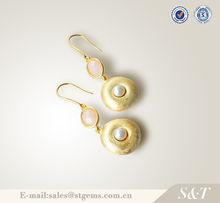 freshwater pearl types of gold plated earrings wholesale