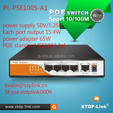 XTDP-LINK 50V/1.25A POE switch 5 port, power over ethernet ,network switches for IP cameras