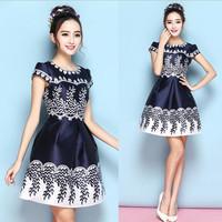 Manufacture custom sleeveless casual dresses ladies polka dot dresses frock design for girl