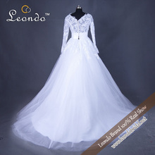 wedding dress 2015 ball gown lace real photo a line v neck elegant long sleeve wedding ball gowns