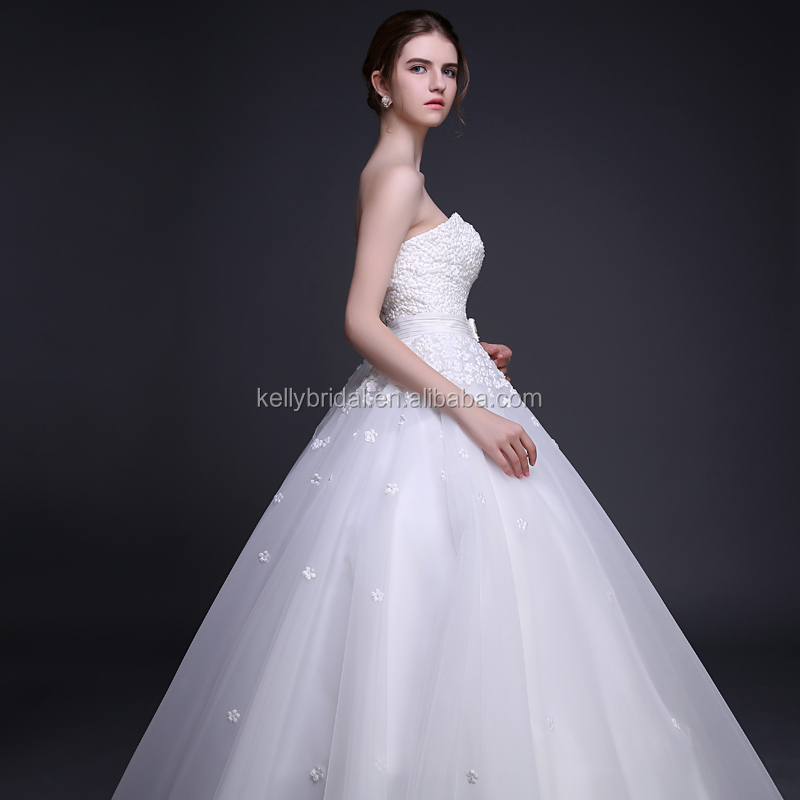 3d Flowers With Pearls Wedding Dress Sweetheart Neckline Bridal Gown ...
