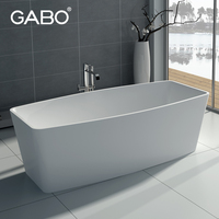 Indoor One Person Free Standing Man-made Stone Surround Tub