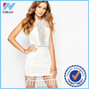 2015 New Design Mixed Summer Style Women Tunic Lace Crochet Bodycon Dress With Zip Back Fringe Tassel Party dress
