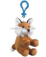 plush fox keychains/wholesale plush animal fox keychains/stuffed cute plush fox keychain