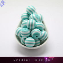 Striped Chunky Beads Bulk Bubblegum Pink Beaded Jewelry 20MM For DIY Fashion Necklace And Bracelet