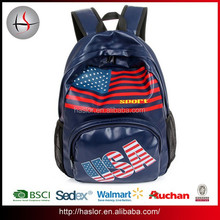 PU Leisure Outdoor Sport School Bag USA Pattern Backpack Leather for University