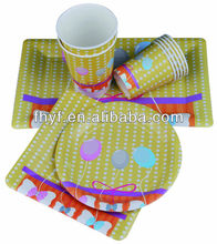 """10""""square/round custom printed Birthday party napkin cup paper plate"""