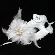 Wholesale Princess Plastic Christmas Masquerade Mask With feather Flower
