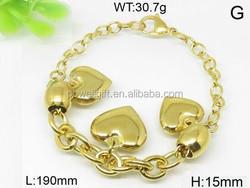 Sterling set three heart design gold energy bracelet stainless steel