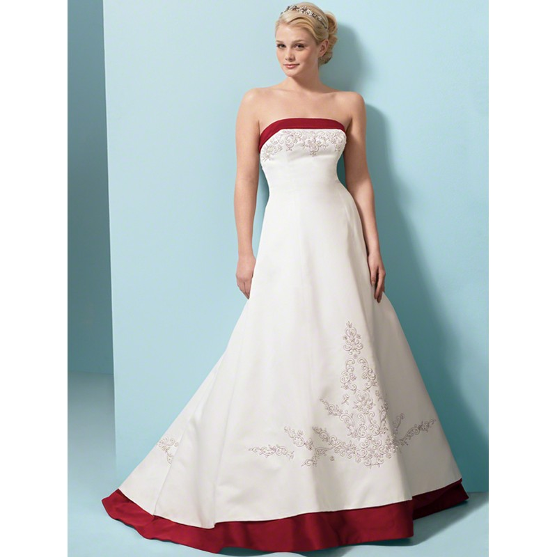 Red And White Wedding Dress Buy : Custom made satin embroidered red and white wedding gown