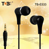 wholesale 3.5mm stereo plug stylish plastic noise cancelling earphones / in-ear headphones / earbuds with various color TB-E533