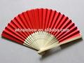 sólido de color de papel plegable ventilador de la mano con bambú natural marco