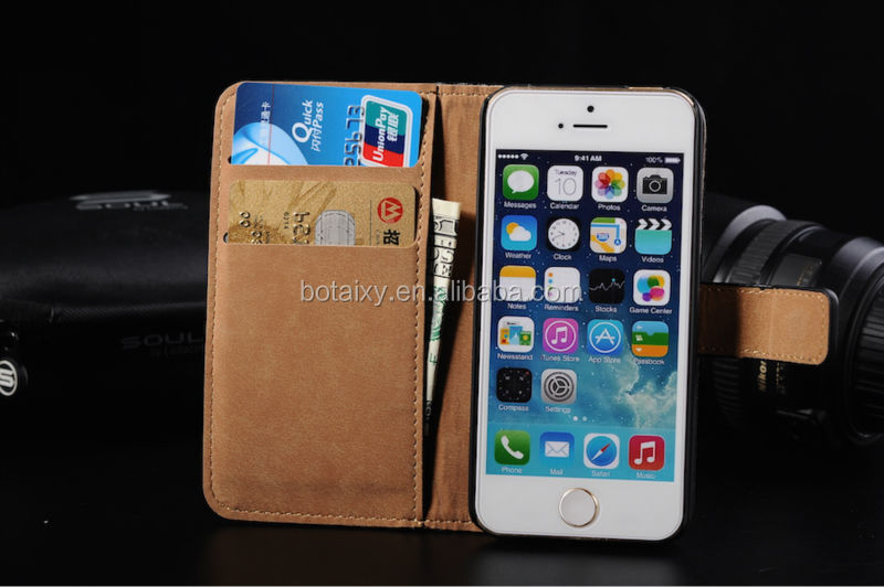 Top Grain Quality Luxury Genuine Real Leather Wallet Case for iPhone 5 5S