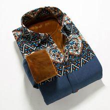 Wholesale OEM Bulk Factory Manale C29 plus velvet long-sleeved shirt color stitching cotton linen stacked beat Men Shirts